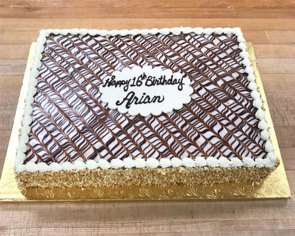 Napoleon half sheet cake with writing