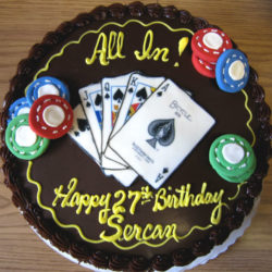 Cake with poker chips and playing cards decoration