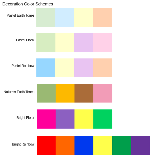 Six decoration color schemes