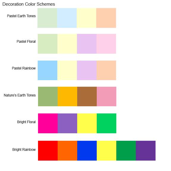 Six decoration color schemes