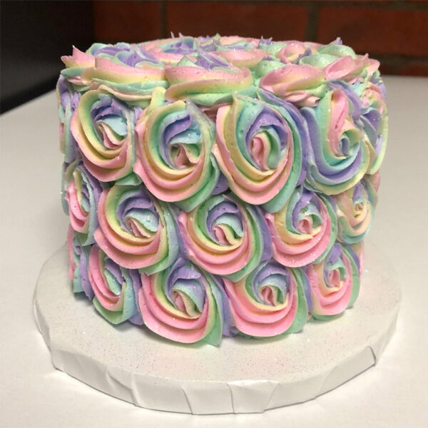 Multi colored pastel rosettes cake