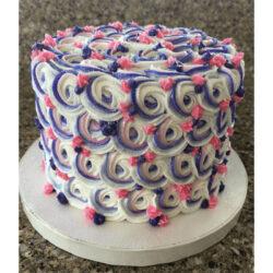 Pink, lavender and white rosette smash cake