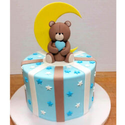 TeddyBear cake with moon and heart