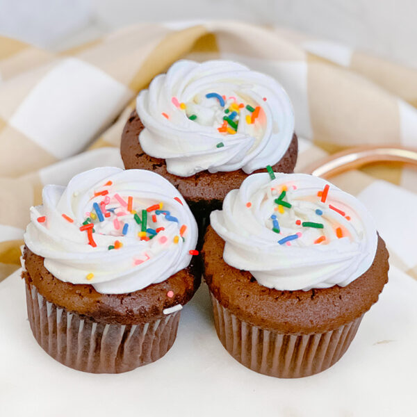 chocolate cupcake with white icing