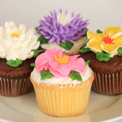 four-tip fantasy flower assorted cupcakes