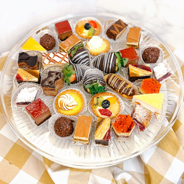 Small platter of mini French pastries
