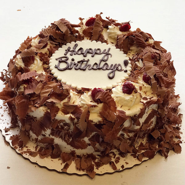 Black Forest Cake with writing