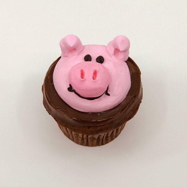 animated pig cupcake