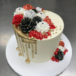 Red and Black modern bouquet cake with partial metallic