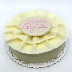 Mousse cake with white chcoloate ribbon