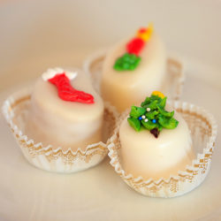 holiday decorated petit fours