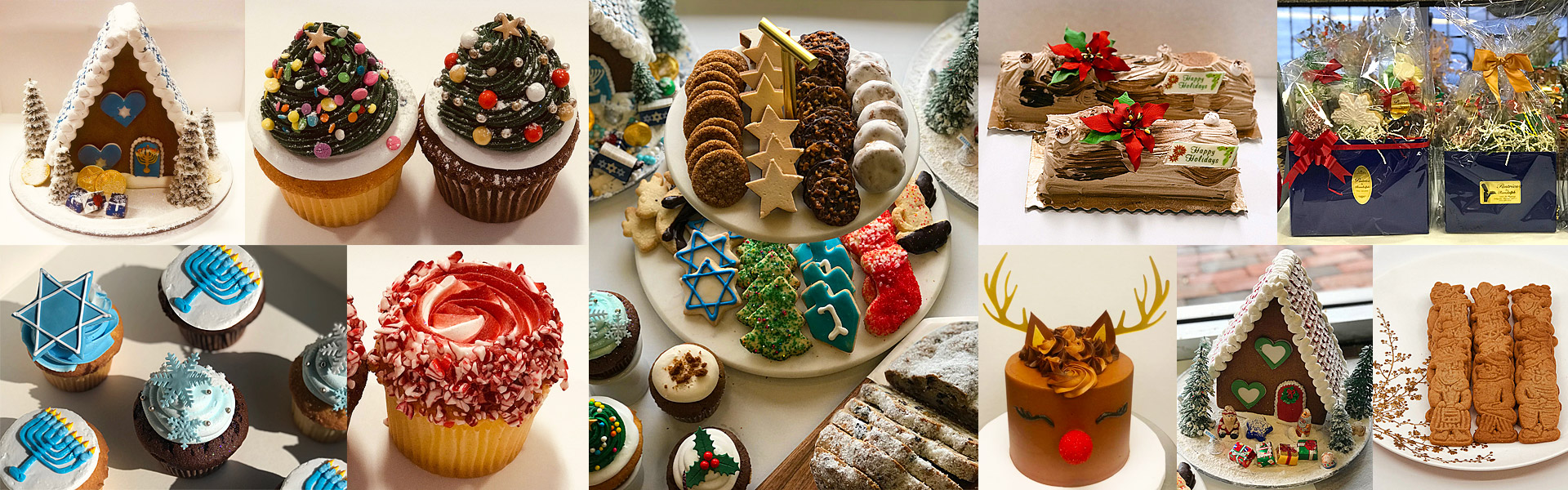 winter holiday collage of treats