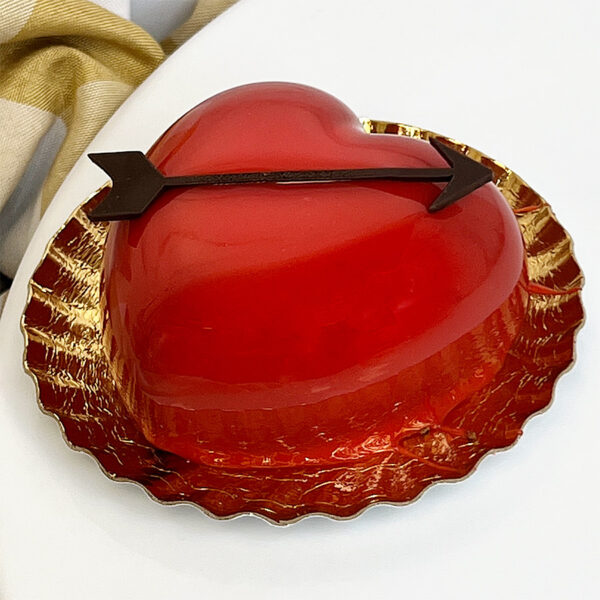 Dark chocolate mousse heart pastry