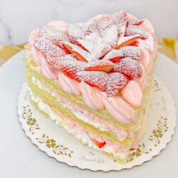 Strawberries and Cream Heart Cake