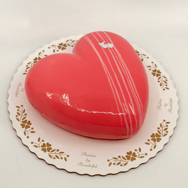 White chocolate mousse heart cake