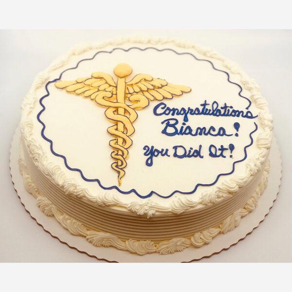Graduation cake with Caduceus