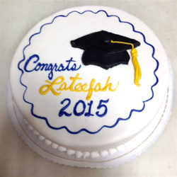 Fondant cake with graduation cap