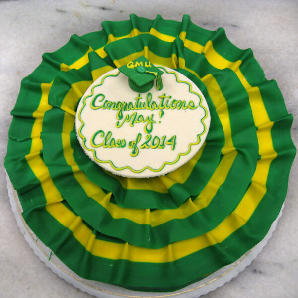 Graduation cake with two-toned ribbon