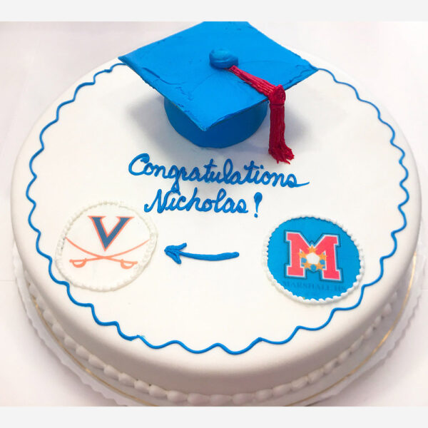 Graduation cake with cap and scans of school logos