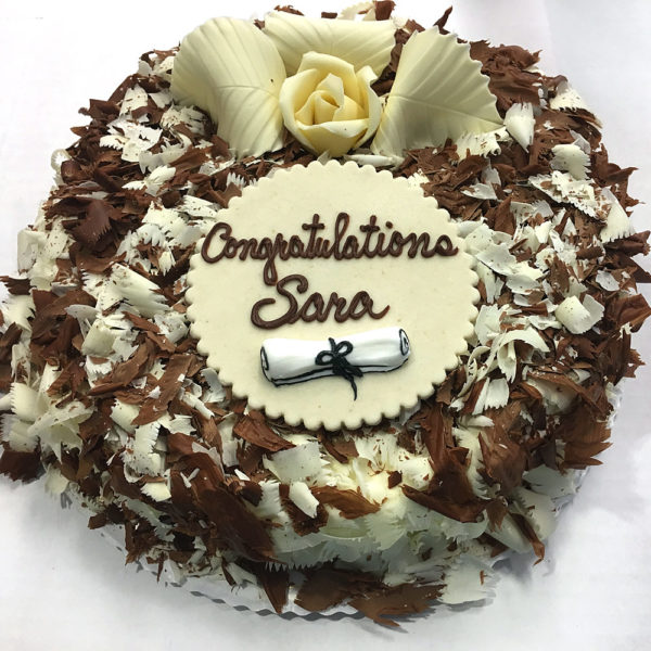 Graduation Marble Mousse with White and Dark Chocolate Shavings with Diploma