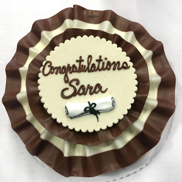 Graduation Marble Ribbon cake with diploma