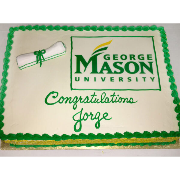 Graduation cake with school logo and diploma