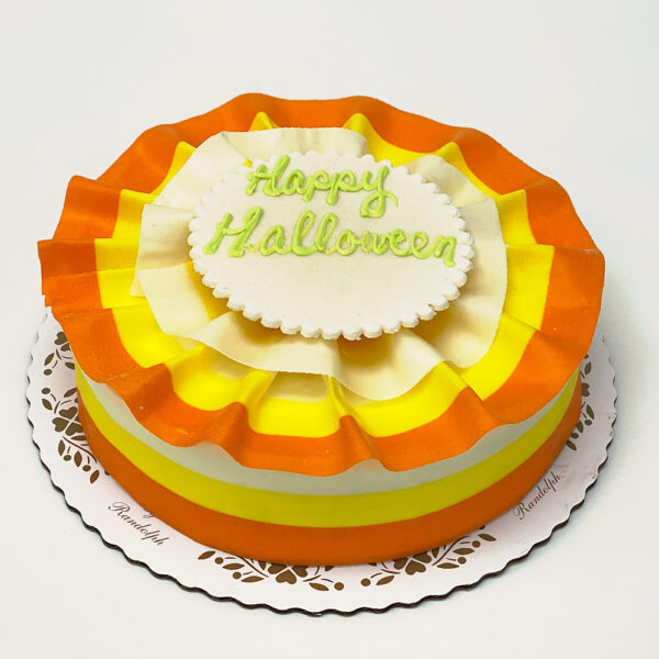 Candy Corn design marble mousse cake with writing