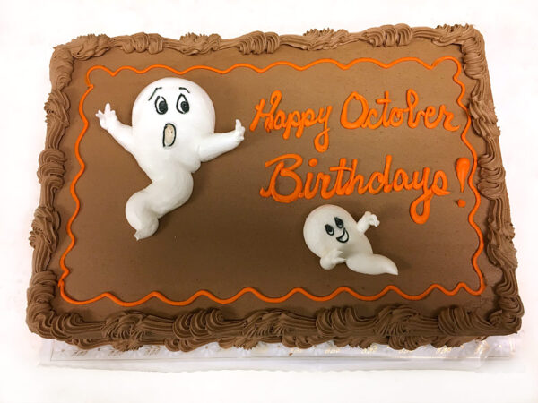 Piped Ghosts Buttercream cake