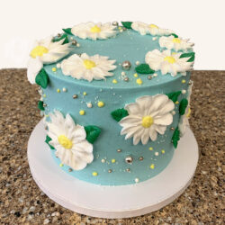 Mother's Day Blue and white daisy celebration cake