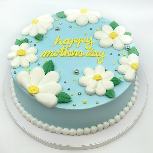 Mother's Day Blue and white daisy buttercream cake